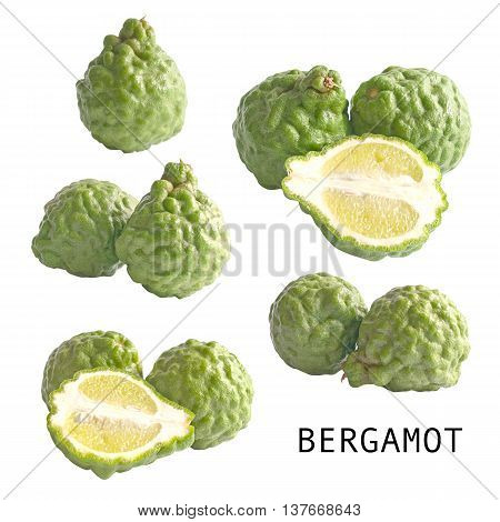collection of isolated kaffir lime or bergamots on white background