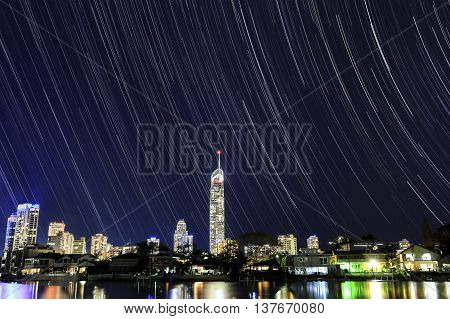 Gold Coast Surfers paradise cityscape and Q1 star trails astro