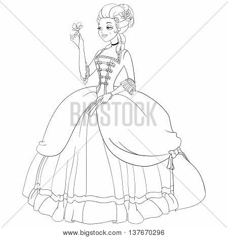 Beautiful outlined rococo lady in antique rococo dress. Coloring page vector illustration.
