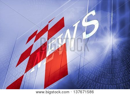 Graphical Digital News Background, Digital Binary Code