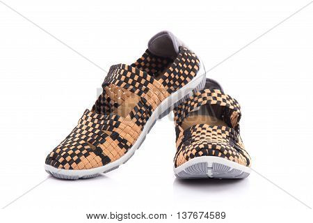 Close up of elastic shoes on white background isolated