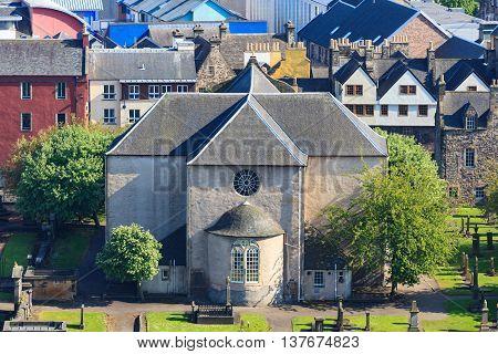 Aerial view of Kirk of the Canongate Edinburgh Scotland UK