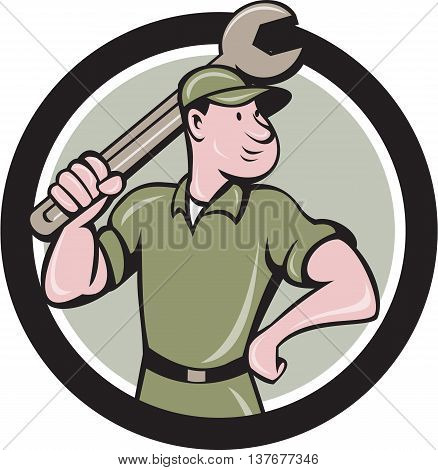 Illustration of a mechanic wielding holding spanner wrench looking to the side viewed from front set inside circle on isolated background done in cartoon style.