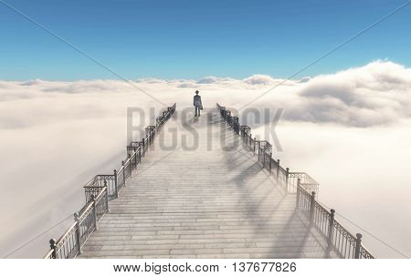 Young businessman walking on a bridge placed overclouds to heaven poster