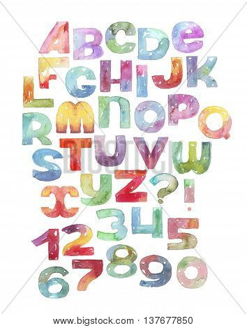Large raster illustration with watercolor letters and numbers sequence. Gradient alphabet vivid colored grainy with splashes and imperfections isolated on white background. Hand drawn abc letters