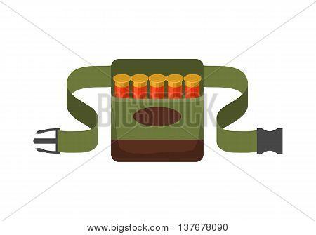 Bandolier on the belt for hunter. Flat vector illustration