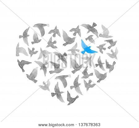 Heart with grey and lonly blue bird. Vintage watercolor