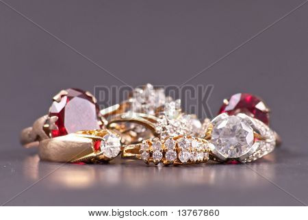 Costume Jewelry Gold And Diamond Rings