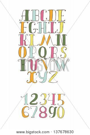 Vector illustration with colorful hand drawn alphabet sequence. Font and numbers set good for lettering titles design isolated on white. Letters from a to z and numbers from 0 to 9