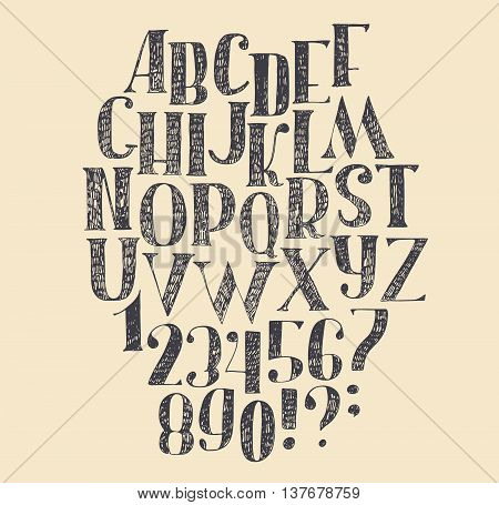 Vector hand drawn font based on english hand drawn abc from a to z and numbers from 0 to 9. Capital font made with nib and serif decorated hatch freehand alphabet . Isolated vector illustration