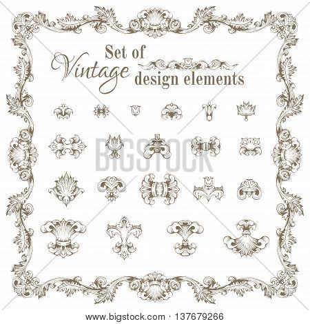 Vector Set Of Retro Design Elements And Page Decorations.