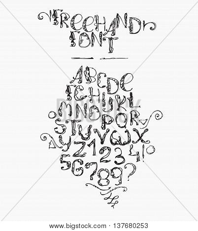 Freehand handdrawn alphabet isolated on white background. Font letters drawn with brush and imperfections every letter and digit has its own style. Funky sequence from letter A to Z and digit 0 to 9