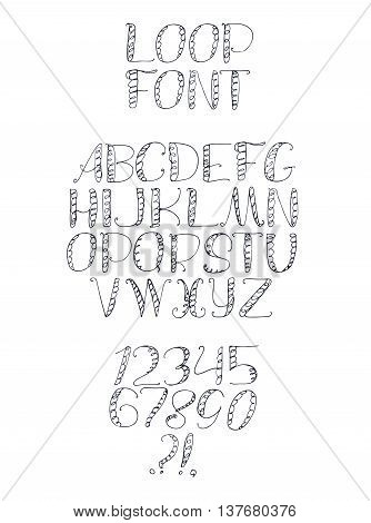 Freehand handdrawn loop alphabet isolated on white background. Font letters drawn with brush and imperfections every letter and digit has own style. Funky sequence from A to Z and digit 0 to 9.