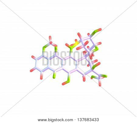 Epirubicin is an anthracycline drug used for chemotherapy. It can be used in combination with other medications to treat breast cancer in patients who have had surgery to remove the tumor. 3d illustration