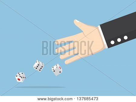 Businessman Hand Throwing Dice