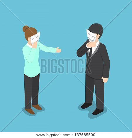 Isometric Business People Covering Their Face With Smiling Mask