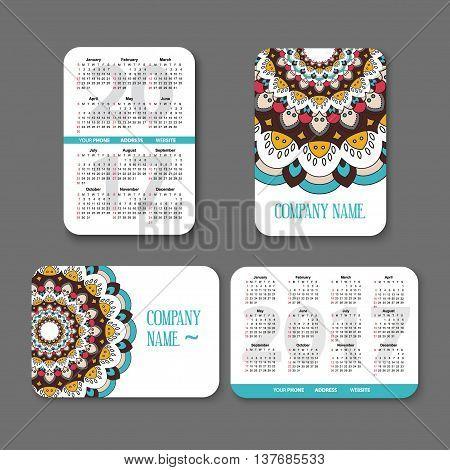 template national design pocket calendar 2017 with colorful mandala. vector illustration. Vertical and horizontal pocket calendar page
