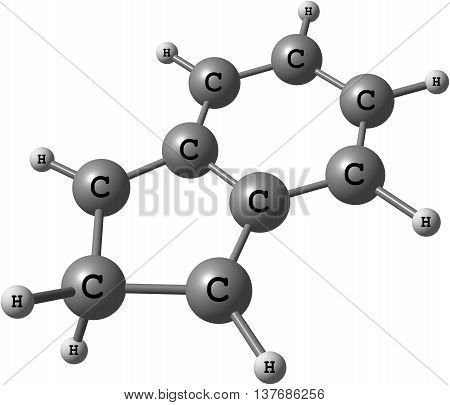 2H-indene or Isoindene is a flammable polycyclic hydrocarbon with chemical formula C9H8. It is composed of a cyclohexadiene ring fused with a cyclopentadiene ring. 3d illustration