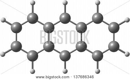 Anthracene is a solid polycyclic aromatic hydrocarbon of formula C14H10 consisting of three fused benzene rings. It is a component of coal tar. 3d illustration