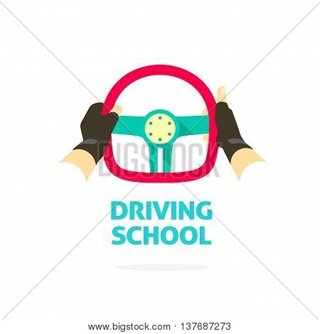 Driving school symbol logo template, hands holding steering wheel, thumb up, trip concept, guide, equipment, rudder, extreme driving, training, flat style, modern design vector illustration isolated