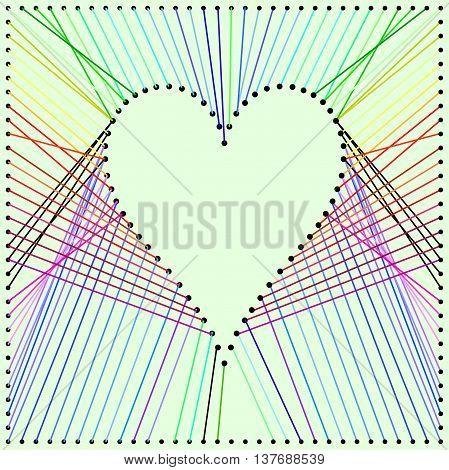 Heart colorfull pattern with pano design and stripes