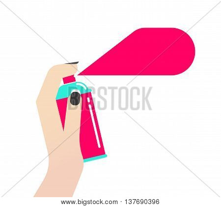 Women hand holding spray can vector illustration, concept of cosmetics, hairspray, deodorant, antiperspirant, graffiti pink paint bubble modern design in flat style isolated on white background
