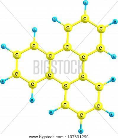 Organic compound triphenylene is a flat polycyclic aromatic hydrocarbon - PAH- consisting of four fused benzene rings. Triphenylene can be isolated from coal tar. Isolated on white background. 3d illustration