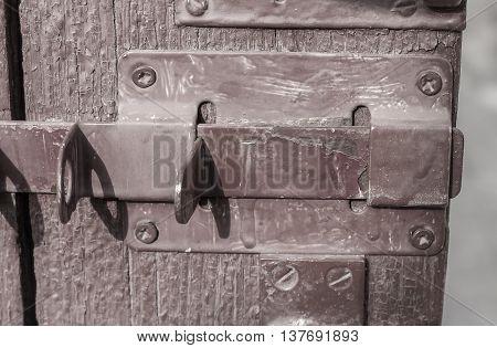 Old Wooden Door With Bolt, Shabby Door