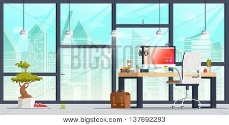Office workplace interior design. Flat concept illustration. Business objects, elements & equipment. Web banner.