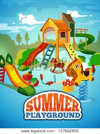 vector poster of children playground. Background Illustration in flat style.Childhood parenting collection.