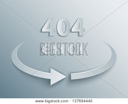404 Error Page with reboot round arrow in 3d, paper and origami style.