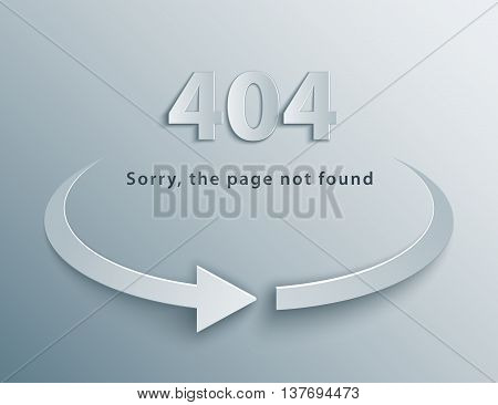 404 Error background with reboot round arrow in 3d, paper and origami style. The page npo found template.