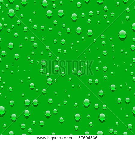 Water transparent drops seamless pattern. Rain drops. Condensed water dark background. Water drops scattered across the green surface.