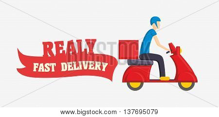 Fast Delivery Vector Illustration With Man Courier Worker Riding Scooter Isolated On White Backgroun