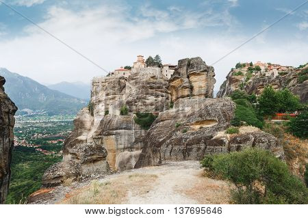 The Holy Monastery of Varlaam and The Holy Monastery of Great Meteoron, Trikala region, Greece. Focus on  Holy Monastery of Varlaam