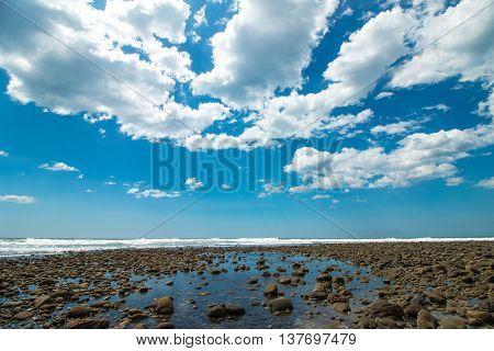 Blue Wide Angle Sky At Playa El Tunco