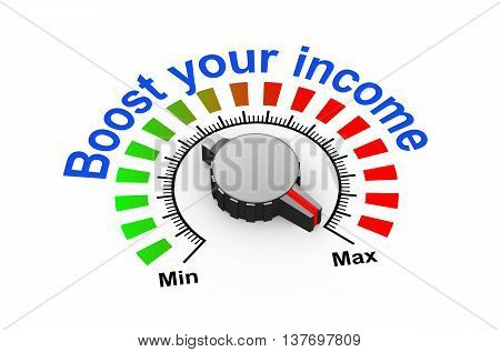 3d illustration of knob set at maximum for boost your revenue