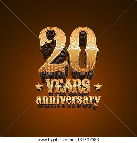 20 years anniversary vector logo icon. 20th birthday decoration design element sign emblem symbol in gold