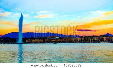 HDR of the Lake Lemans in Geneva