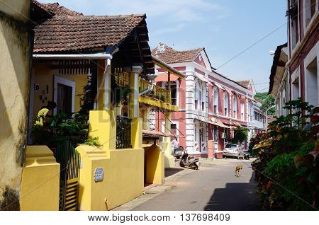 PANAJII,NDIA - NOVEMBER 26:Old streets of Panajicapital of Goa state on November 262013 in Panaji India.Goa is a former Portuguese province