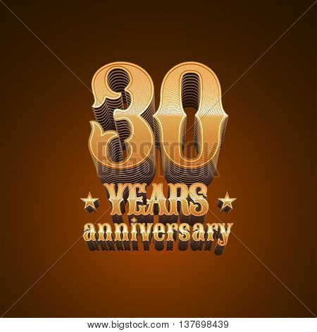 30 years anniversary vector logo. 30th birthday design sign in gold