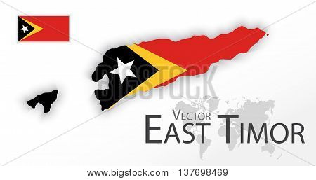 East Timor ( Democratic Republic of Timor-Leste ) ( flag and map ) ( transportation and tourism concept )