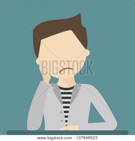 Anxious and sad young man clutching head his hands. Vector flat style illustration isolated. Headache pain. Worried, depression sign. Loser. Tired, upset person.