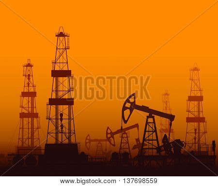 Drilling rigs and oil pumps at orange sunset in desert. Detail vector illustration.