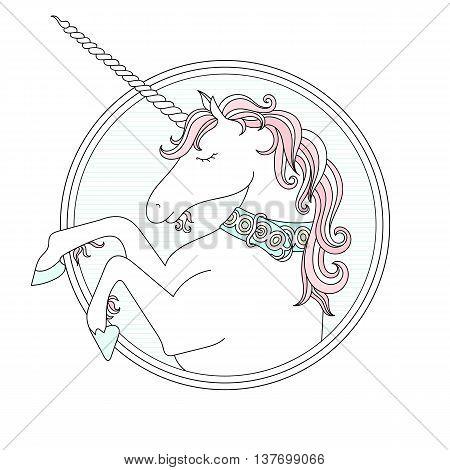 Vector hand drown cute Unicorn. Pastel colors
