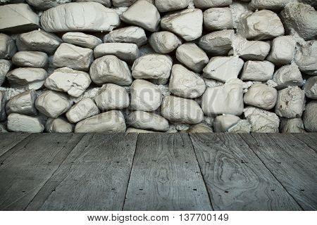 perspective wood plank floor or walk way with dark white old stone wall for art interiors design in home house building shop store art store coffee shop
