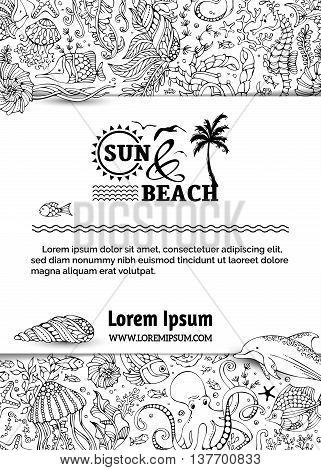 Vector Doodles Background Of Ocean Life.