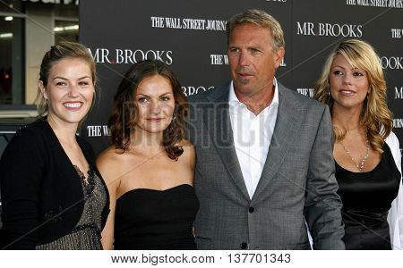 Lily Costner, Annie Costner, Kevin Costner and Christine Baumgartner at the Los Angeles premiere of 'Mr. Brooks' held at the Grauman's Chinese Theater in Hollywood, USA on May 22, 2007.