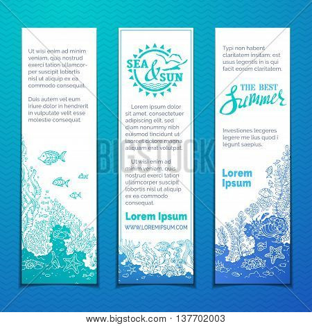 Marine Life Vertical Banners Set.