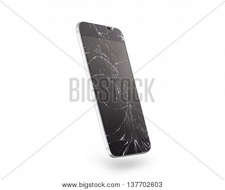 Broken mobile phone screen, side view, isolated, clipping path. Smartphone display damage mockup. Cellphone crash and scratch, glass hit. Device destroy problem. Smashed gadget bad accident.